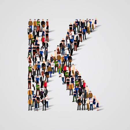 Large group of people in letter K form. Vector seamless background Ilustração