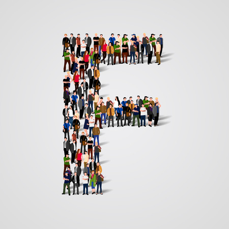 Large group of people in letter F form. Vector seamless background