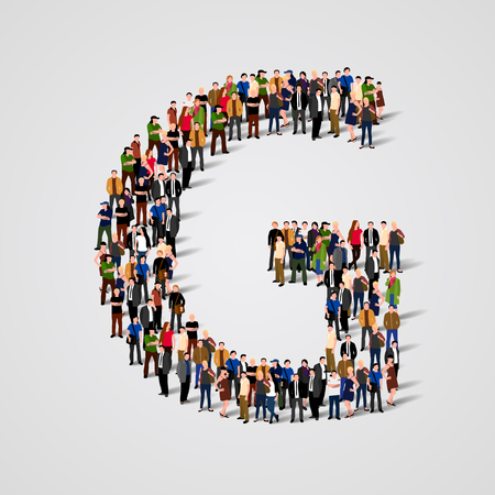 Large group of people in letter G form. Vector seamless background