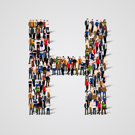 Large group of people in letter H form. Vector seamless background