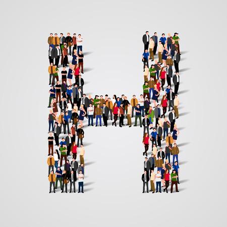 Grote groep mensen in de letter H vorm. Vector naadloze achtergrond