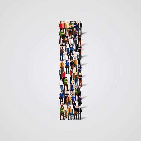 Large group of people in letter I form. Vector seamless background Illustration