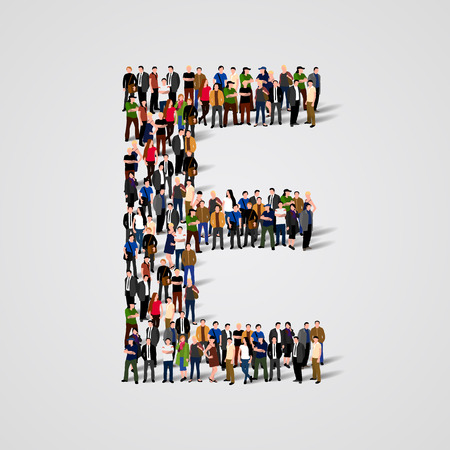 Large group of people in letter E form. Vector seamless background
