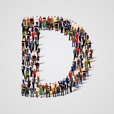d: Large group of people in letter D form. Vector seamless background