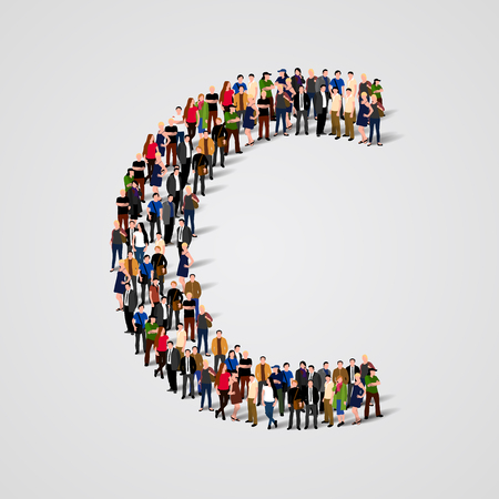 Large group of people in letter C form. Vector seamless background Vectores