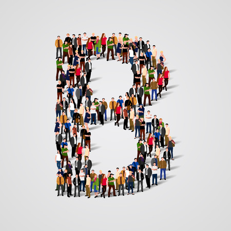 Large group of people in letter B form. Vector seamless background Illustration