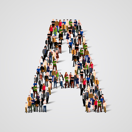 Large group of people in letter A form. Vector seamless background