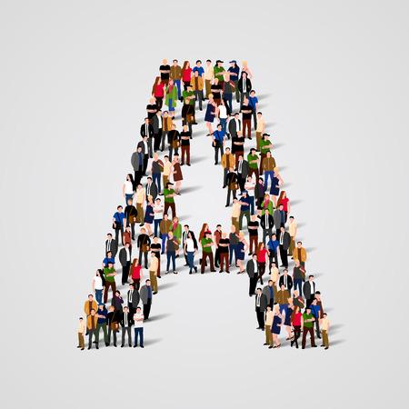 Grande gruppo di persone in lettera A forma. Vector background senza soluzione Archivio Fotografico - 46955216