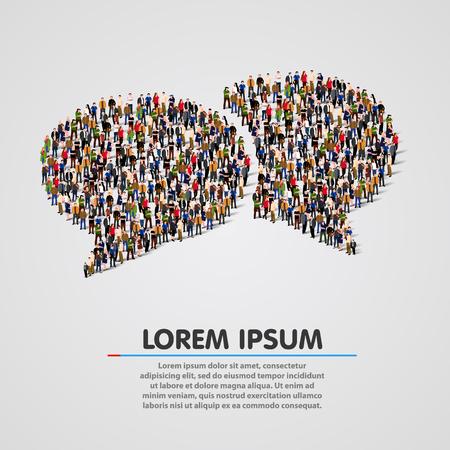 nhân dân: Nhóm lớn của người dân trong các bong bóng trò chuyện hình dạng. Minh hoạ vector