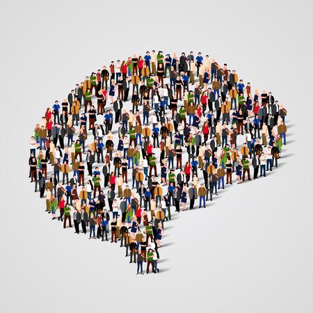 juntos: Gran grupo de personas en la forma del signo cerebro. ilustración vectorial Vectores