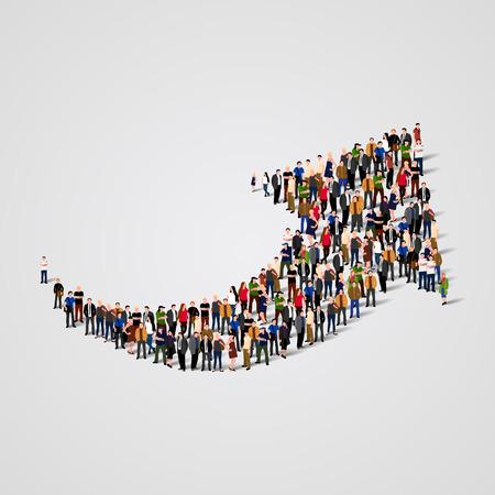 trabajo en equipo: Gran grupo de personas en la forma de una flecha. Ilustración vectorial