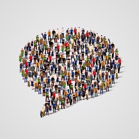 människor: Stor grupp människor i chatten bubblan form. vektor