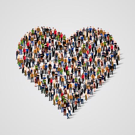 sociedade: Grande grupo de pessoas na forma sinal do cora