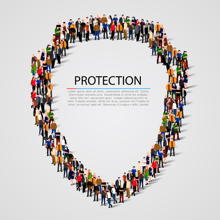 large  group: Large group of people in the shield shape. Vector illustration Illustration