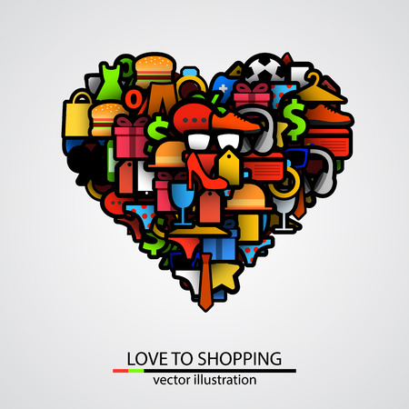 heart sign: Creative heart sign made of shopping items. Vector illustration Illustration