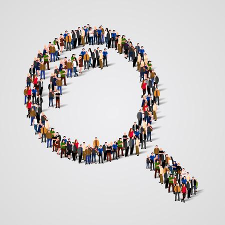 lupa: Gran grupo de personas en la forma de una lupa. Ilustración vectorial