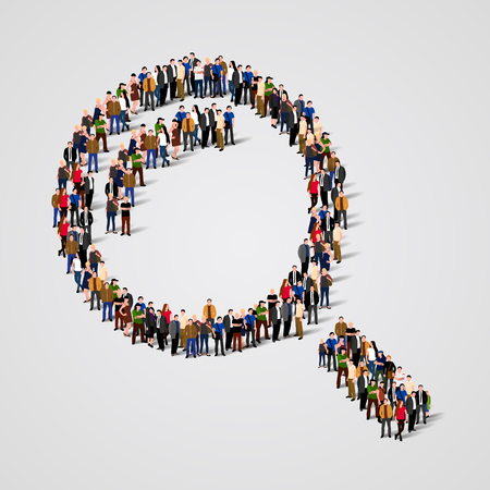 Große Gruppe von Menschen in der Form einer Lupe. Vektor-Illustration Standard-Bild - 46955224