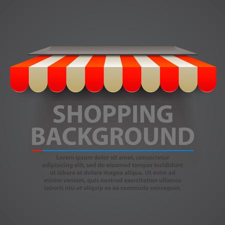 Store striped awning modern background. Vector illustration Illustration