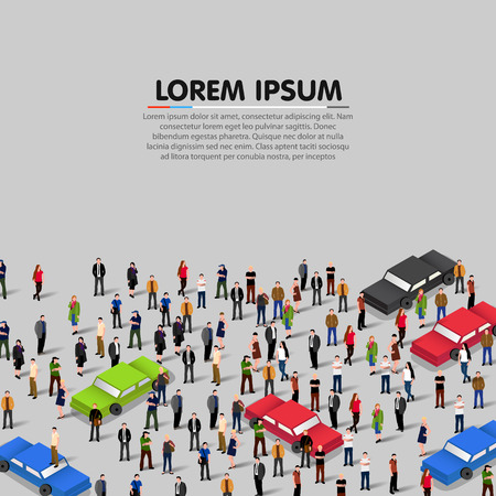 concept car: People crowd and cars background. Vector illustration