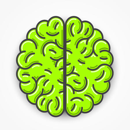 brain icon: Cartoon green brain sign. Clean vector illustration Illustration