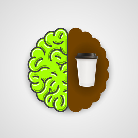 slumberous: Coffee in human brain. Clean vector Illustration.