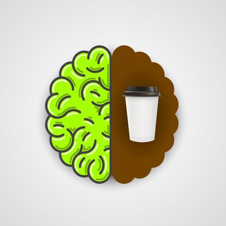 Coffee in human brain. Clean vector Illustration.