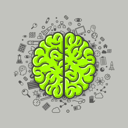 green technology: Brain green icons on a white background. Vector illustration