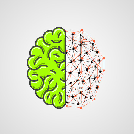 clever: Human brain with network part. Vector illustration Illustration