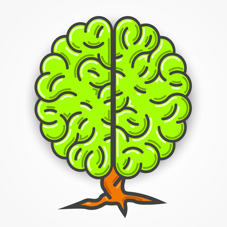 brain illustration: Cartoon green brain sign. Clean vector illustration Illustration