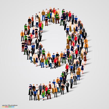 nombres: Grand groupe de personnes dans le numéro 9 de neuf forme. Vector illustration
