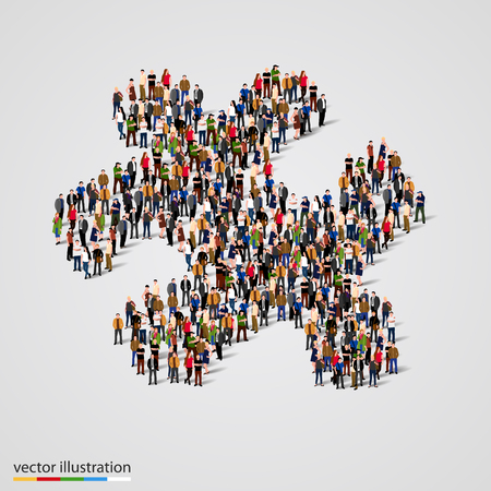 challenges: Large group of people forming the shape of a puzzle. Vector illustration