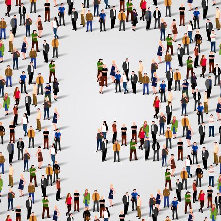 grupos de personas: Gran grupo de personas en forma de carta E. Vector de fondo sin fisuras