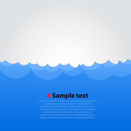 Sea and waves bright background. Vector illustration