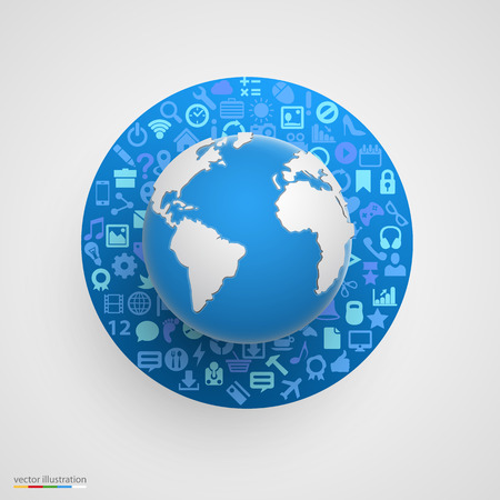 creative ideas: World globe with app icons. Business software and social media networking concept.