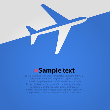 Airplane flight blue background. Simple vector illustration