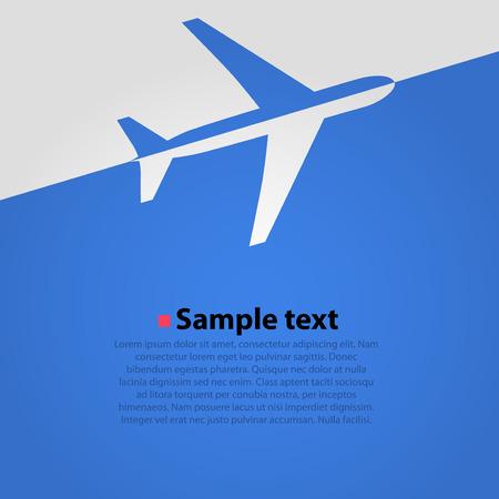 Avion vol fond bleu. Simple illustration vectorielle