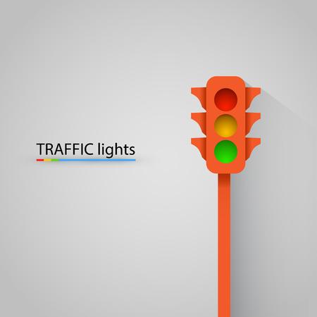traffic light: Orange traffic light modern background. Vector illustration