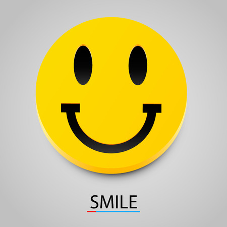 3d circle: Modern yellow laughing happy smile. Vector illustration Illustration