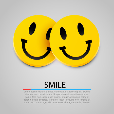 Modern yellow laughing two smiles. Vector illustration Иллюстрация