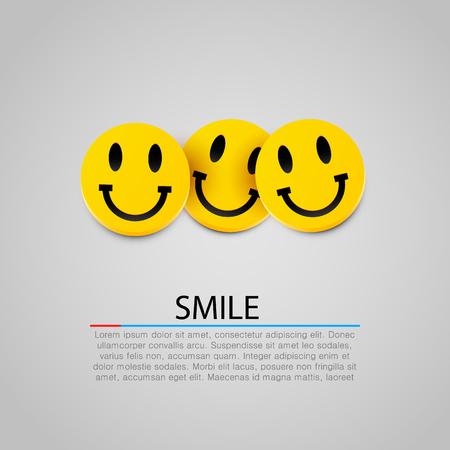 carita feliz caricatura: Amarillo moderno riendo tres sonrisas. Ilustración vectorial