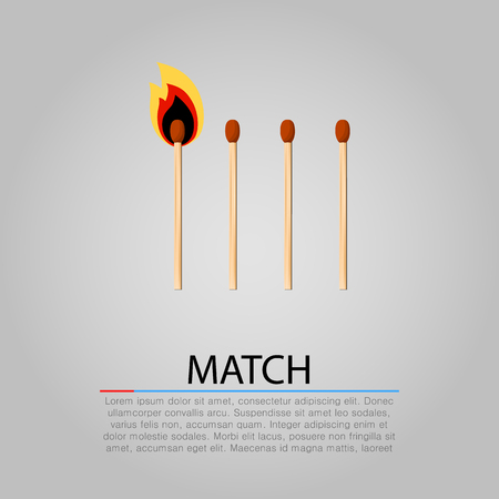 domino effect: Burning matches on gray background. Vector illustration