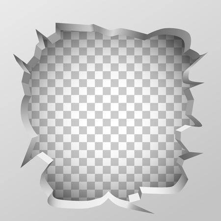 White broken wall concept. Clean vector illustration