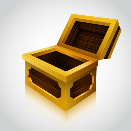 Wooden treasure chest on white background. Vector illustration