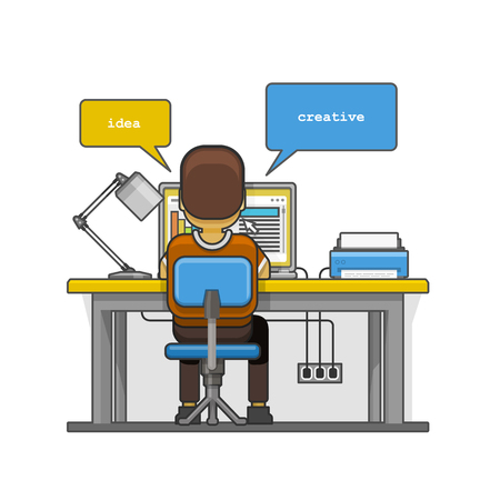 chat room: Man sitting at the desktop and working on the computer. Vector illustration Illustration