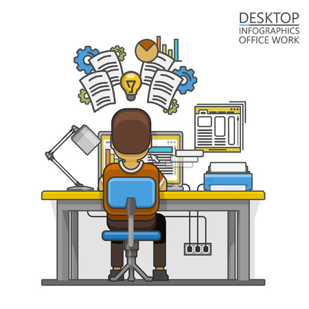 hard: Man sitting at the desktop and working on the computer. Vector illustration Illustration