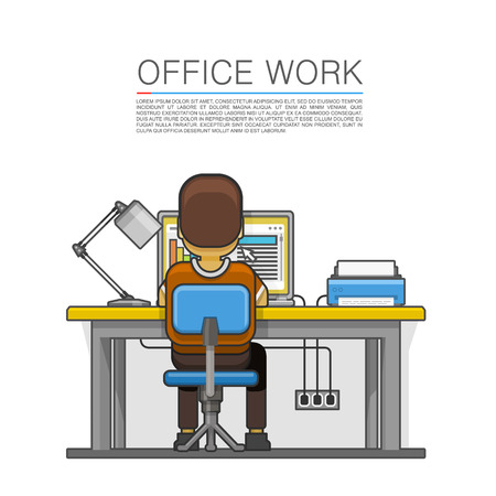hard day at the office: Man sitting at the desktop and working on the computer. Vector illustration Illustration