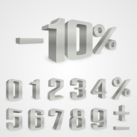 Interest rebate set grey numbers. Vector illustration