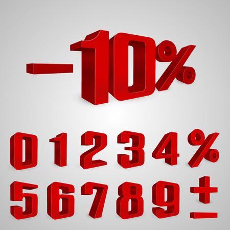 rebate: Interest rebate set red numbers. Vector illustration Illustration