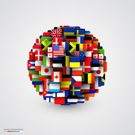 banderas del mundo: banderas del mundo en forma de esfera. ilustración vectorial