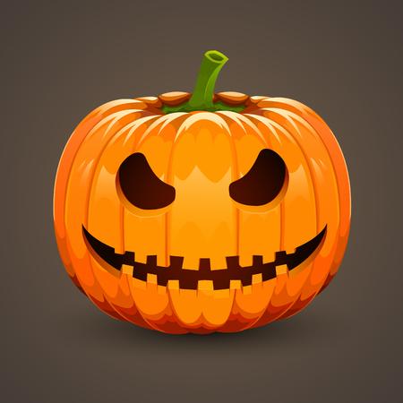 smirking: Pumpkin for Halloween on dark background. Vector illustration.